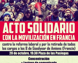 Solidaridad internacional con los 8 trabajadores de Goodyear (Francia). Libertad sindical y retirada inmediata de todos los cargos