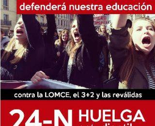 24-N ¡¡HUELGA ESTUDIANTIL!! – Sólo la lucha defenderá nuestra educación