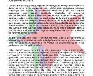 COMUNICADO DE IZAR MÁLAGA EN APOYO A L@S BOMBER@S