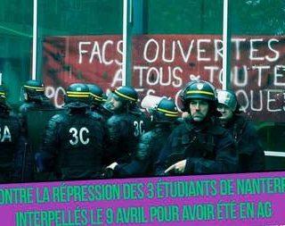 Absolución para los 3 estudiantes de Nanterre, París. ¡Solidaridad contra la represión!