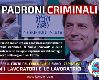 El Partito Comunista dei lavoratori PCL denuncia al gobierno, a la región de Lombardía y a Confindustria