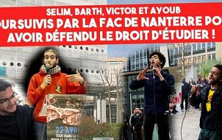 ¡Absolución para los estudiantes Ayoub, Barth, Selim y Víctor de Nanterre, París!